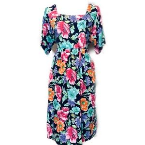 DVF Vintage Floral Midi Dress Size Large Authority
